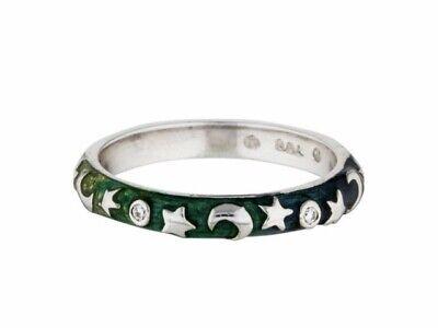 18K White Gold Hidalgo Diamond,  Moon,  and Stars Ring