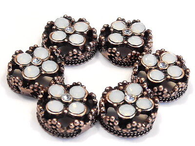 6 - 2 HOLE SLIDER BEADS WHITE OPAL & CLEAR CRYSTAL FLOWERS COPPER FLORAL FRAME - Floral Beads