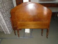 GOOD CONDITION SOLID WOOD ANTIQUE TWIN HEAD BOARD AND FOOTBOARD