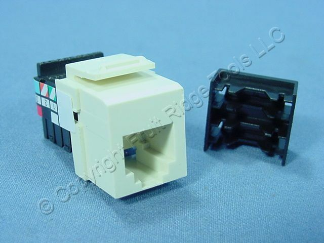 New Leviton Almond Quickport 6-Wire Snap-In Phone RJ11 Telephone Jack 41106-RA6