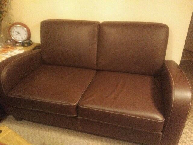 2 X Vivo 2 Seater Faux Leather Sofa Brown