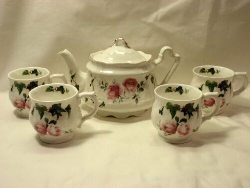 Arthur Wood #6426 Teapot and 4 Cups White with Pink Roses