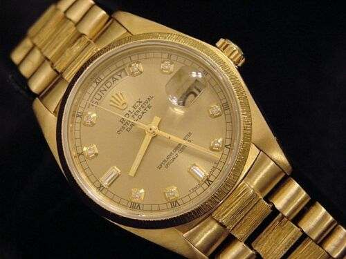 Mens Rolex Day-Date President 18k Yellow Gold Watch Bark Champagne Diamond 18078