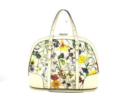Auth GUCCI NiceFlora 309617 Ivory Multi Leather Handbag w/Shoulder Strap