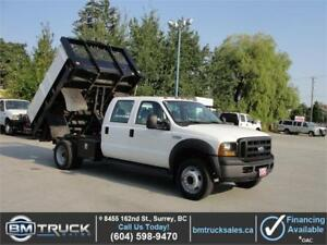 2006 FORD F-550 XL CREW CAB FLAT DECK DUMP TRUCK LOW KM