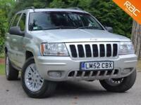 2003 52 JEEP GRAND CHEROKEE 4.7 V8 LIMITED 5D AUTO 220 BHP HUGE SPEC + LOW MILES