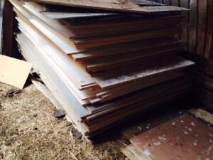 4' x 8' sheets of particle board with melamine tops