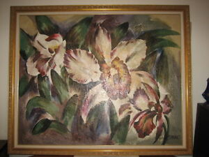 "LARGE 54"" x 66"" Floral Painting by Van Stafford"