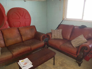Real Leather Couch & Loveseat