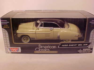 24 Yellow Die Cast Car (1950 Chevy Bel Air Hard Top Coupe Die-cast Car 1:24 Motormax 8 inch Yellow)