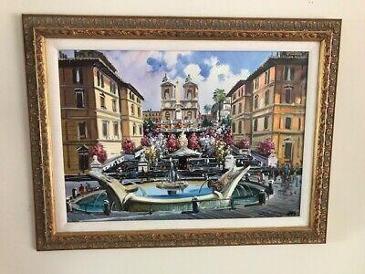 Original Oil - Spanish Steps - Rome