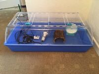 Large Animal Cage, Heat Lamp, Thermostat, Wheel & Bridge **AS NEW**