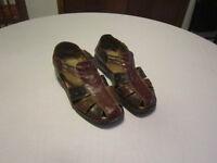 Sandale ouverte en vrai cuir 3 couleurs à talon bas, grandeur 9
