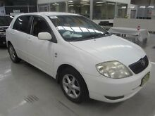 2004 Toyota Corolla ZZE122R Ascent Seca White 5 Speed Manual Hatchback Maryville Newcastle Area Preview