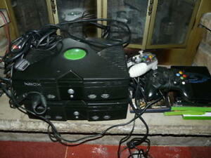 lot of two ORIGINAL CLASSIC Microsoft Xbox CONSOLE WITH CONTROL