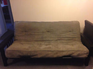 Futon with wooden base, Like new!