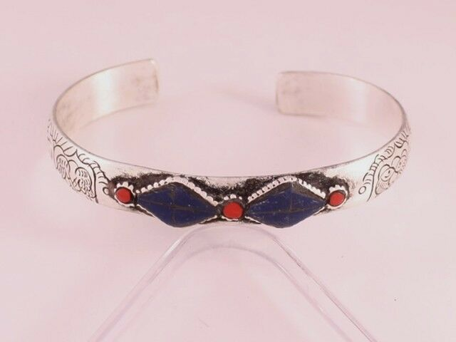 Long Tibetan Turquoise Lapis Gemstone Carved 8 Auspicious Symbol Cuff Bracelet