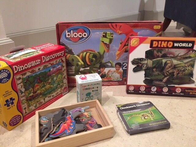 Assortment of dinosaur toys