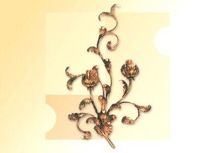 Applique a 2 luci in ferro battuto foglie acanto oro da parete...
