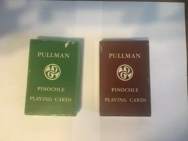 Very Vintage Pullman Pinochle Playing Cards NEW in original boxes - 2 decks