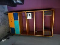Bookcase (bookshelf) & tv stand (cabinet) brand new condition, retro style, teak & paint finish