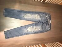 Hollister blue denim boyfriend jeans. Size- waist 28/ Length 32.