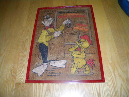 1973 Walter Lantz Wally Walrus Framed Sign Fried Chicken Burlap Like Poster