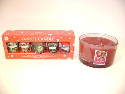 Yankee Candle Round Glass 3 Wick Christmas Apple Spice 17oz & Sampler Votive Set
