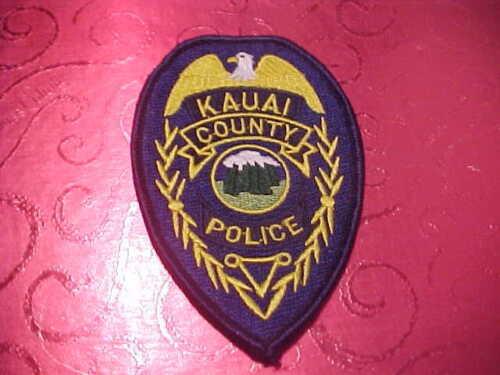 KAUAI COUNTY HAWAII POLICE PATCH SHOULDER SIZE UNUSED TYPE 2- 4 1/4 X 3 INCH