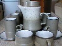 Vintage Poole Pottery Coffee Set two tone green