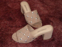 TAUPE STEPH HEELED MULE SANDALS BY DOROTHY PERKINS. COLLECTION ONLY.