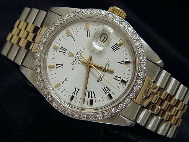 Rolex Date Mens Stainless Steel Yellow Gold Watch White Roman Dial Diamond Bezel