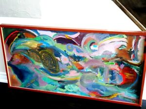"""Contemporary ORIGINAL OIL PAINTING ABSTRACT Polish 49""""L Krwawicz Kitchener / Waterloo Kitchener Area image 7"""