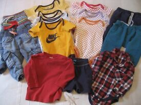 6-9 MONTHS, 15 ITEMS OF BABY CLOTHES INC 3 PAIRS JEANS, 2 JOGGERS, 4 NIKE BODYSUITS & MORE (BAG 26)