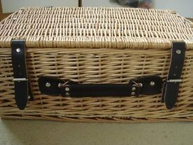 GREAT FOR XMAS HAMPERS - WICKER PICNIC/GIFT HAMPERS WITH LEATHER STRAPS