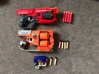 3 nerf guns - mega cyclone, flip fury, N-strike reflex plus 10 bullets