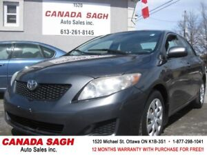 2009 Toyota Corolla, 141K, CRUISE, 5SP MAN, 12 M WRTY+SAFETY$650