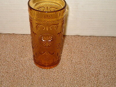 "VINTAGE BROCKWAY GLASS AMERICAN CONCORD PATTERN AMBER  5 1/2"" DRINKING GLASS"