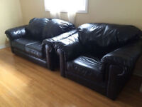 real leather three pieces sofa set couch love seat chair