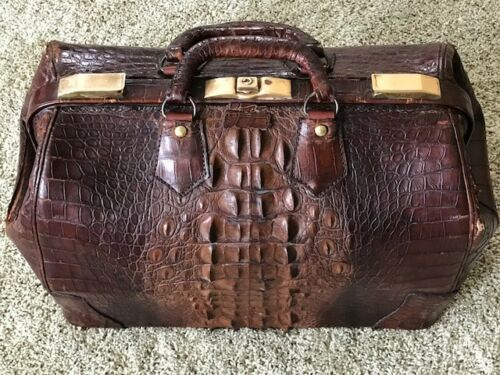 Antique Alligator Doctor Bag Large Hornback Scales