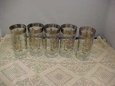 Beverage Glasses 5 Total  Retro Silver Rim and Imprint Coat of Arms Vintage (Imprinted Glassware)