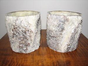 Faux Bois Fake Wood Grain Ceramic Planters Pillar Candle Holders Kitchener / Waterloo Kitchener Area image 1