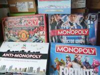 Monopoly`s Dr Who , Man utd ,P&O Ferries , Anti Monopoly Scrabble
