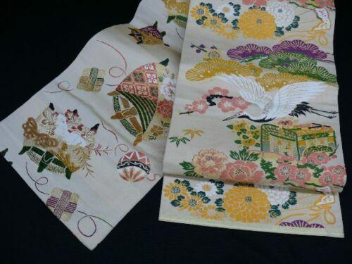 Reversible Cream Japanese MARU OBI w/Cranes, BOTAN H475