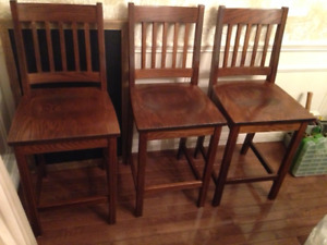 Solid Oak Kitchen Stools - price is for all 3 stools