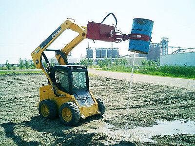 Skid Steer 55 Gallon Poly Barrel Grabber  w/ 127° Dual Cylinder Rotating Base