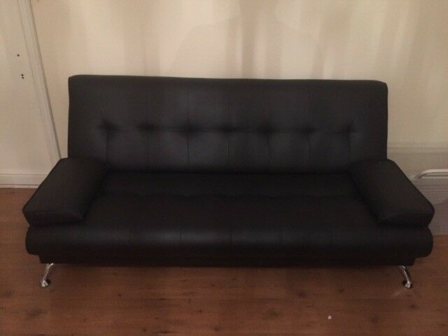 Fold Down Black Faux Leather Sofa Bed In Southampton