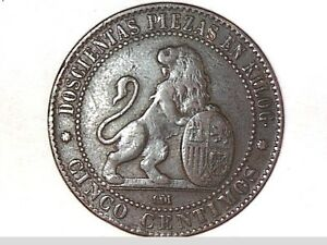 1870 CINCO CENTIMOS SPAIN COIN (GREAT)