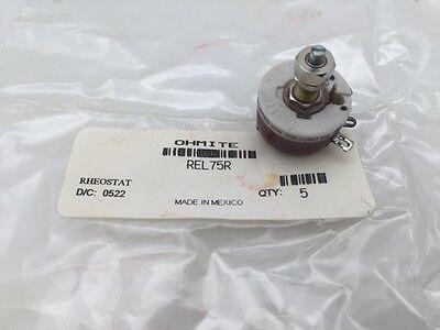 Rel75r Ohmite 12.5 Watt 75 Ohm 305v Locking Shaft Linear Rheostat