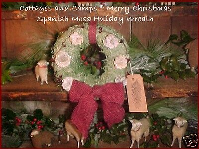 Primitive Christmas Wreath Green Spanish Moss Frosted Pinecones & Burlap Bows  ()